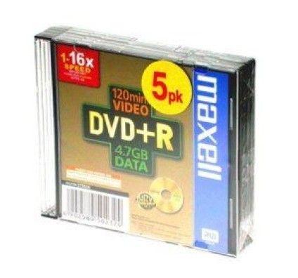 Maxell DVD+R 4.7 Go - 16x (Boite Slim x5)