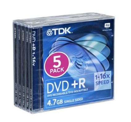 TDK DVD+R 4.7 Go - 16x (Boite CD x5)