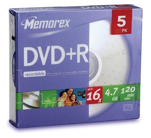 Memorex DVD+R 4.7 Go - 16x (Boite Slim x5)
