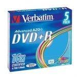 Verbatim DVD+R 4.7 Go - 16x (Boite Slim x5) Coloré