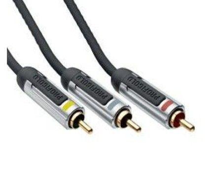 Profigold PROV5302 - Cordon audio/vidéo 3x RCA Mâle/Mâle - Connecteurs plaqués Or - 2 m