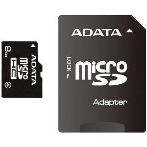 A-Data Micro SDHC 8Go Class 4 + Adaptateur SD