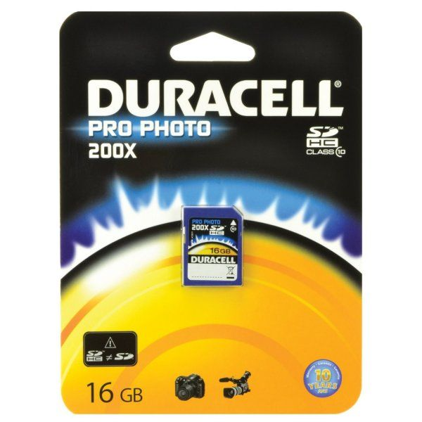 Duracell SDHC 16Go Class 10 Pro Photo - 200X