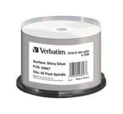 Verbatim DVD-R 4.7 Go - certifié 16x Imprimable Brillant (Spindle x50)