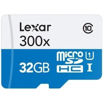 Lexar MicroSDHC 32 Go 300x (45Mo/s) + Adaptateur SD