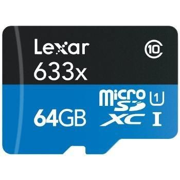 Lexar MicroSDXC 64 Go 633x (45Mo/s) + Adaptateur