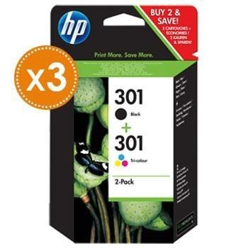 HP 3x Combo Pack n°301 (J3M81AE) - Cartouche d'encre