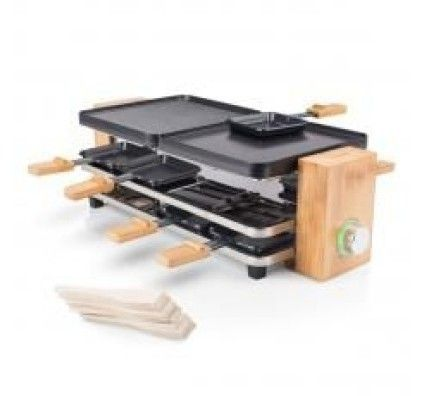 PRINCESS Raclette Pure 8 bambou - 1200 W