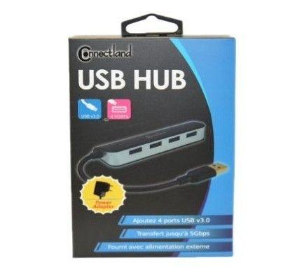 CONNECTLAND HUB USB v3.0 4 ports noir avec alimentation externe