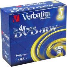 Verbatim DVD+RW 4.7 Go - 4x (Boite CD x5)