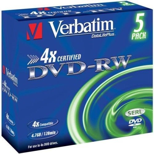 Verbatim DVD-RW 4.7 Go - 4x (Boite CD x5)