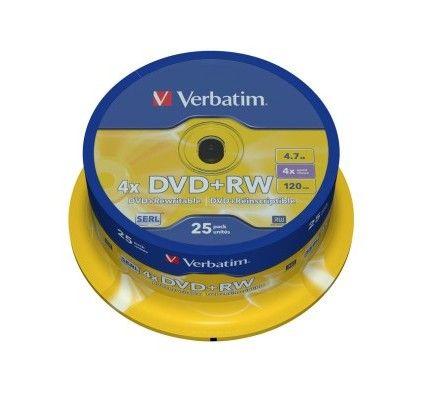 Verbatim DVD+RW 4.7 Go - 4x (Spindle x25)