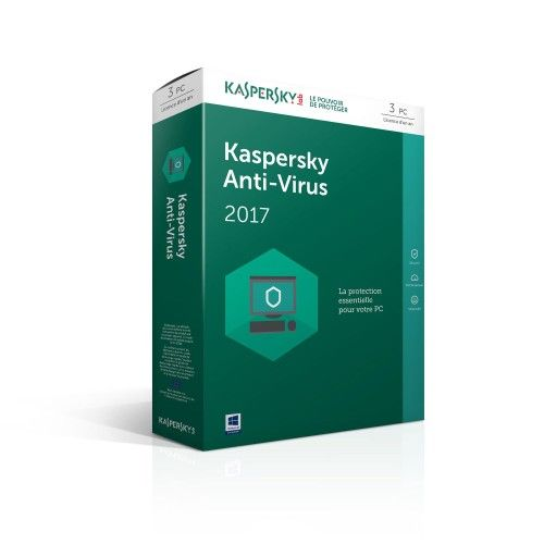 Kaspersky Anti-Virus 2017 - Licence 1 an 3 postes