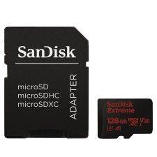 SanDisk Extreme microSDXC UHS-I U3 V30 128 Go + Adaptateur SD - SDSQXAF-128G-GN6MA