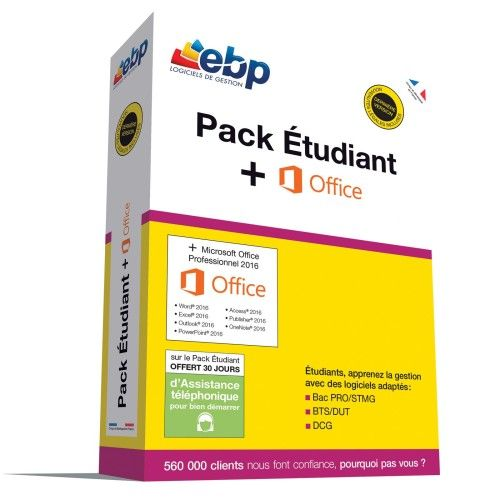 EBP Pack Etudiant 2018 + Microsoft Office Professionnel 2016