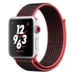 Apple Watch Nike+ Series 3 GPS + Cellular Aluminium Argent Sport Cramoisi/Noir 38 mm