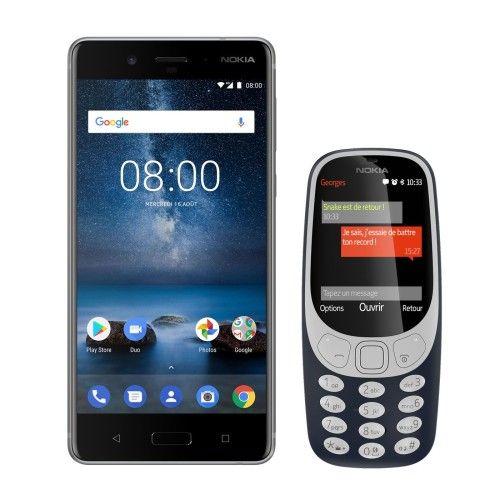 Nokia 8 Acier Trempé + 3310 (2017) Bleu Nuit OFFERT !