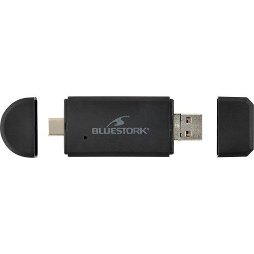 Bluestork Lecteur de cartes USB-A/USB-C/micro-USB - 2-en-1