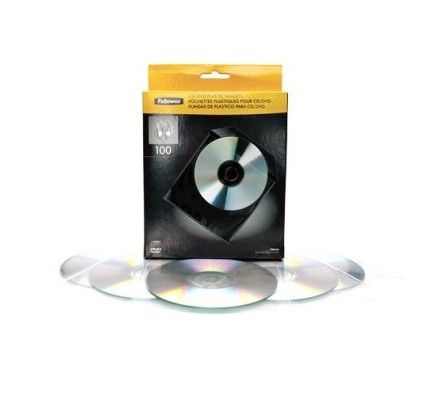 Fellowes 100 Enveloppes CD Plastique