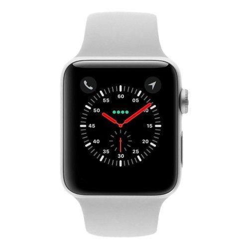 Apple Watch Series 3 - boîtier en aluminium argent 42mm - bracelet Sport blanc (GPS+Cellular)
