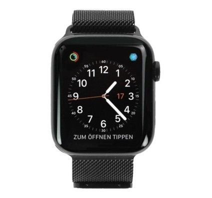 Apple Watch Series 4 - boîtier en acier inoxydable noir 44mm - bracelet milanais noir (GPS+Cellular)