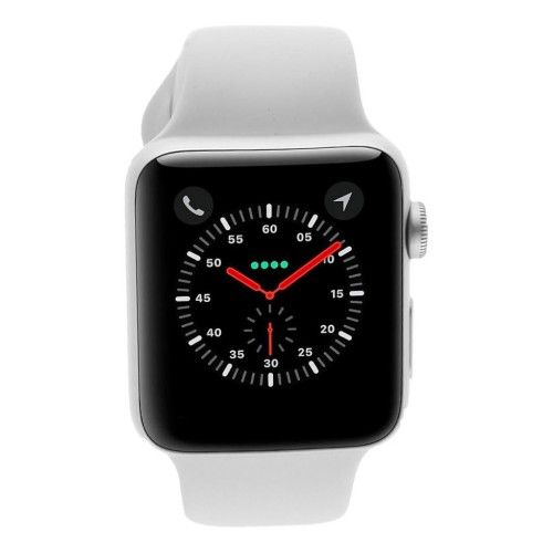 Apple Watch Series 3 - boîtier en aluminium argent 42mm - bracelet sport blanc (GPS)