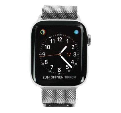 Apple Watch Series 4 - boîtier en acier inoxydable argent 44mm - bracelet milanais argent (GPS+Cellu