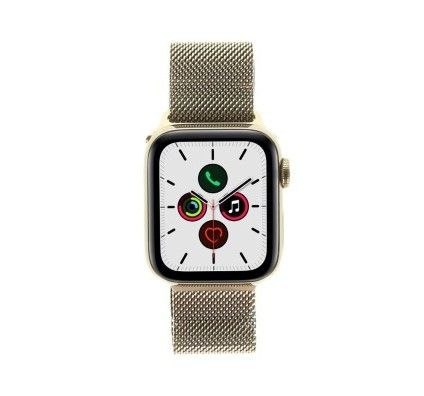 Apple Watch Series 5 - boîtier en acier inoxydable or 40mm - bracelet milanais en or (GPS+Cellular)