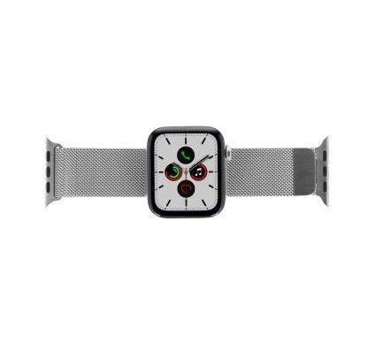 Apple Watch Series 5 - boîtier en acier inoxydable argent 44mm - bracelet milanais en argent (GPS+Ce
