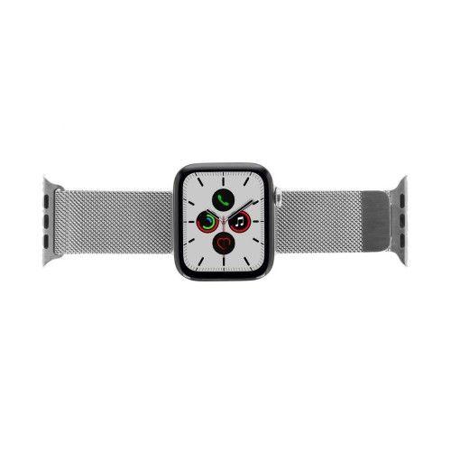 Apple Watch Series 5 - boîtier en acier inoxydable argent 44mm - bracelet milanais en argent (GPS+Cellular)
