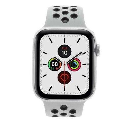 Apple Watch Series 5 Nike+ - boîtier en aluminium en argent 44mm - bracelet sport en platinium/noir