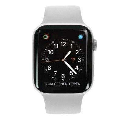 Apple Watch Series 4 - boîter en aluminium argent 44mm - bracelet sport en blanc (GPS)