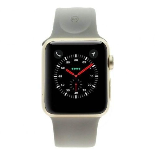 Apple Watch Series 1 - boîtier en aluminium or 38mm - bracelet sport beton gris