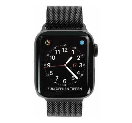 Apple Watch Series 4 - boîtier en acier inoxydable noir sidéral 40mm - bracelet milanais en noir (GP