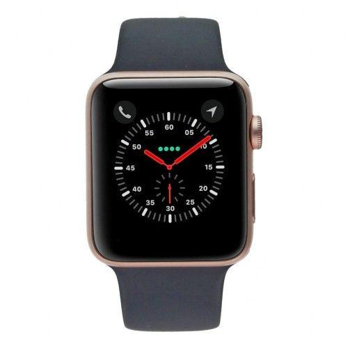 Apple Watch Series 2 - boîtier en aluminium or/rose 42mm - bracelet sport bleu de minuit/rose