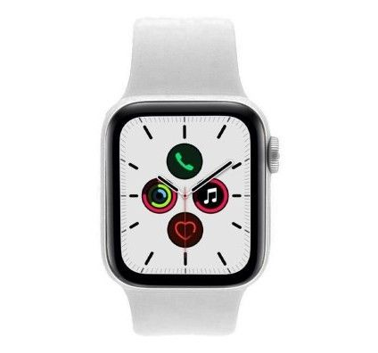 Apple Watch Series 5 - boîtier en aluminium en argent 40mm - bracelet sport blanc (GPS)