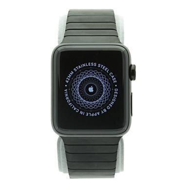 Apple Watch Series 2 - boîtier en acier inoxydable noir 42mm - bracelet à maillons noirs