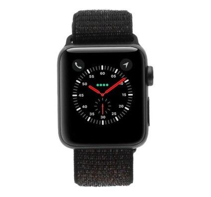 Apple Watch Series 3 - boîtier en aluminium gris 38mm - boucle sport en noir (GPS+Cellular)