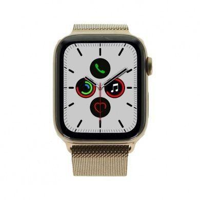 Apple Watch Series 5 - boîtier en acier inoxydable or 44mm - bracelet milanais or (GPS+Cellular)