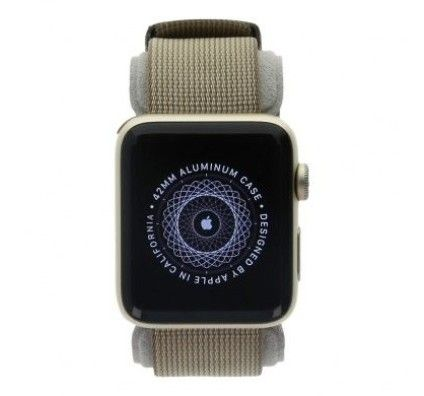 Apple Watch Series 2 - boîtier en aluminium or 42mm - bracelet en nylon tissé marron café/marron car