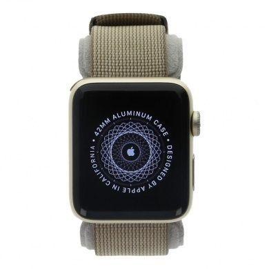Apple Watch Series 2 - boîtier en aluminium or 42mm - bracelet en nylon tissé marron café/marron caramel