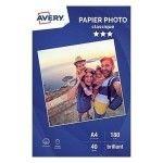 Avery Papier Photo Classique Jet d'encre A4, Blanc, Brillant, 180 g/m² (20 feuilles)