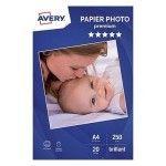 Avery Papier Photo Premium Jet d'encre A4, Blanc, Brillant, 250 g/m² (20 feuilles)