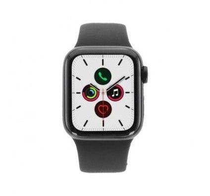 Apple Watch Series 5 - boîtier en acier inoxydable noir 40mm - bracelet sport noir (GPS+Cellular)