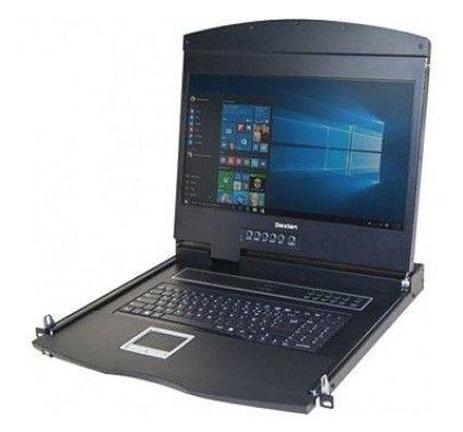 """Dexlan console rackable double rail 1U pour serveur - écran TFT 18.5"""" - câble VGA-USB/PS2 fourni - c"""