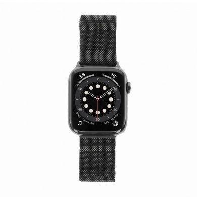 Apple Watch Series 6 - boîtier en acier inoxydable graphite 44mm - bracelet milanais graphite (GPS+Cellular)