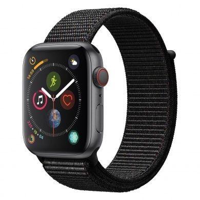 Apple Watch Series 4 - boîtier en aluminium gris 44mm - boucle sport noire (GPS+Cellular)